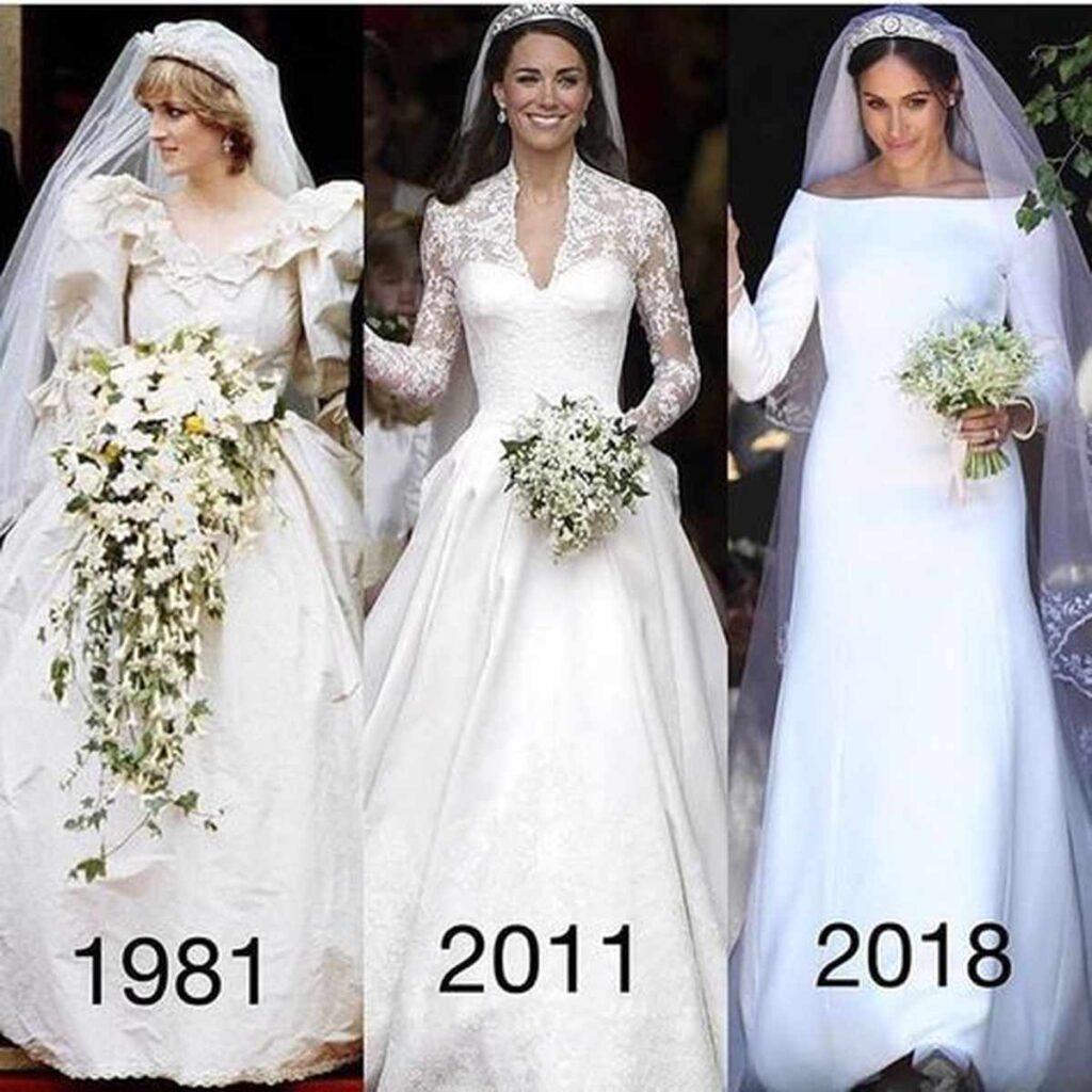 suknie ślubne Diany, Kate i Meghan