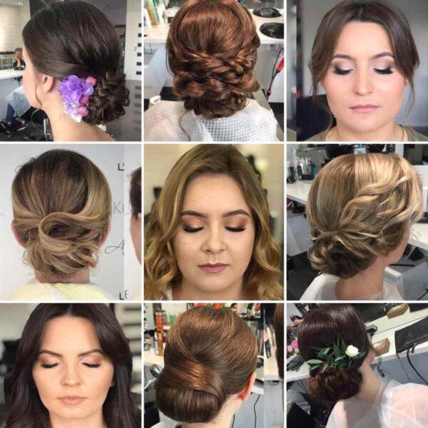 zdjęcia wielu fryzur i makijaży na wesele