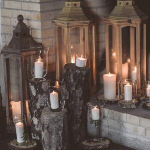 świece na weselu rustykalnym