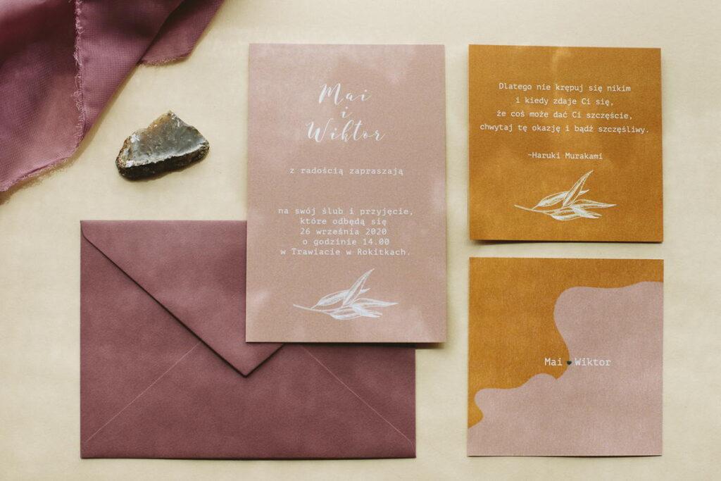 kolorowa papeteria na ślub