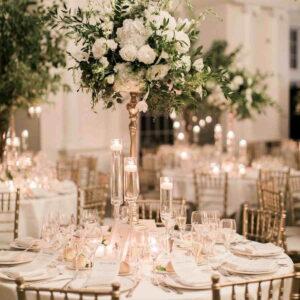 złote dekoracje na wesele